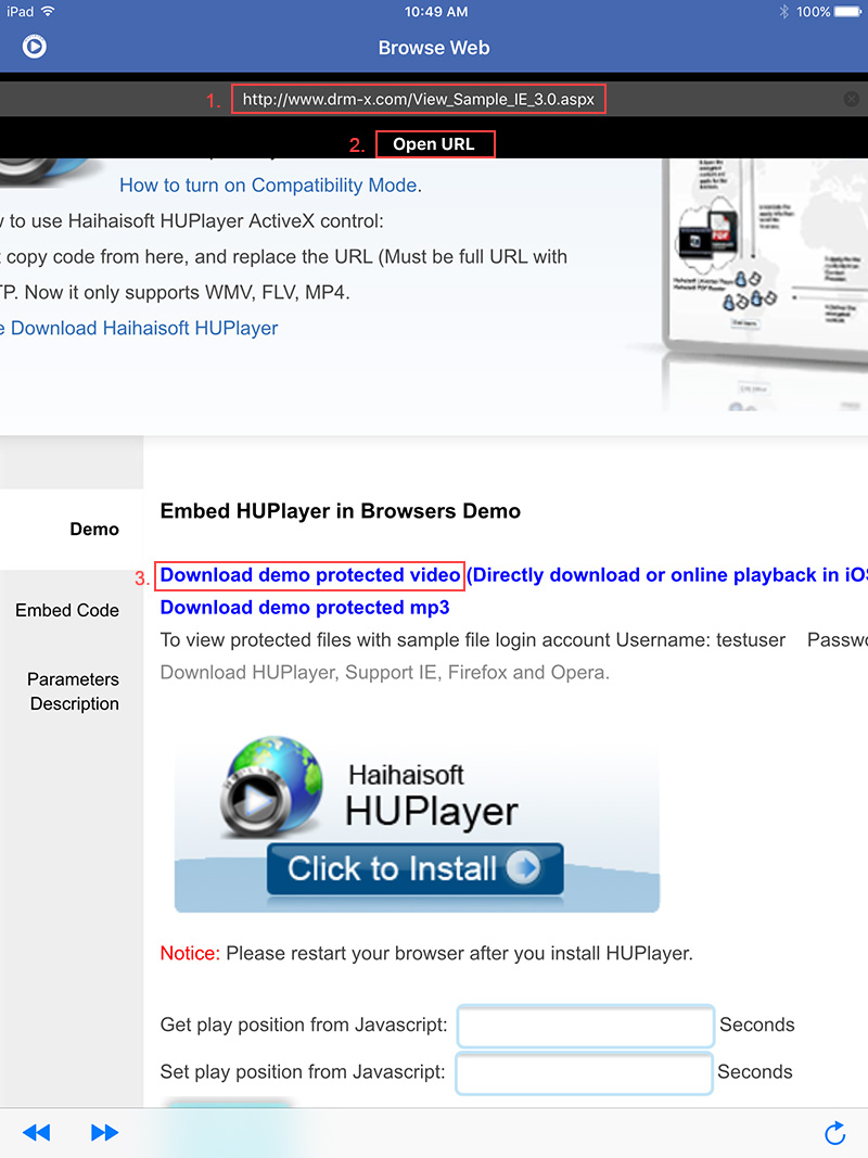 How to use download and play online on HUPlayer for iOS? of DRM-X